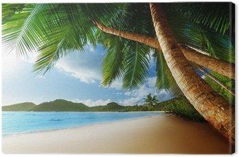 Canvas Zonsondergang op het strand, Mahe, Seychellen