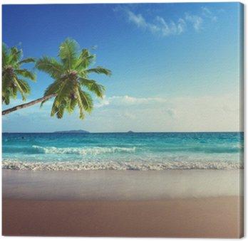 Canvas Zonsondergang op het strand van de Seychellen