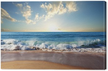 Canvas Zonsondergang op het strand