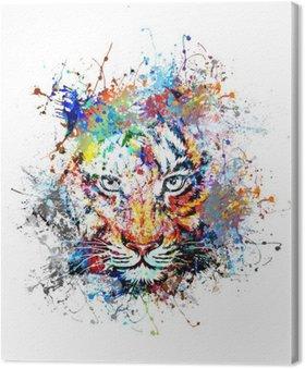 Canvastavla Яркий фон с тигром