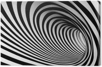 Canvastavla 3d abstrakt spiral bakgrund, vit och svart