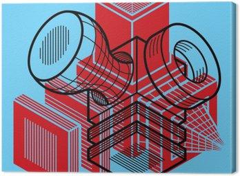 Canvastavla 3D-design, abstrakt vektor dimensionell kub form.