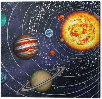 Canvastavla 3D Solar System: 9 planeter i sina banor