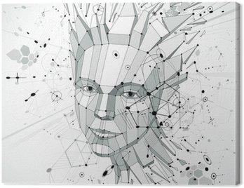 Canvastavla 3d vector low poly portrait of a smart woman, human thoughts