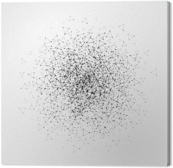 Canvastavla Abstrakt bakgrund med streckade rutnät och triangulära celler. vektor