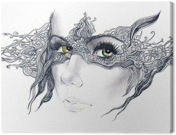 Canvastavla Abstrakt dekorerad kvinna ansikte