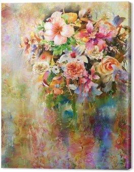 Canvastavla Abstrakt färgrika blommor akvarellmålning. fjäder flerfärgad
