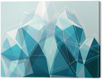 Canvastavla Abstrakt geometri blå berg