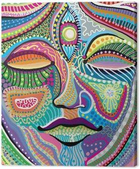 Canvastavla Abstrakt kvinna ansikte med mångfärgade indiska mönster