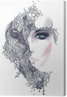 Canvastavla Abstrakt kvinna ansikte