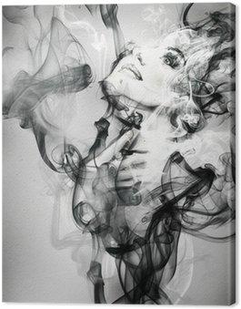 Canvastavla Abstrakt kvinna porträtt. akvarell illustration