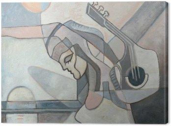 Canvastavla Abstrakt målning med kvinnan och gitarr