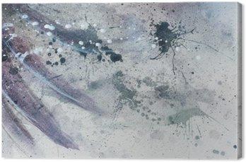 Canvastavla Abstrakt målning med suddiga och färgade struktur med mild fjäder silhuett.