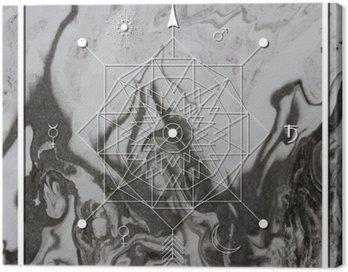 Canvastavla Abstrakt mystisk geometri, linjär alkemi, ockult, filosofiska tecken.