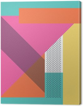 Canvastavla Abstrakt retro 80 bakgrund med geometriska former och mönster. Materialdesign tapet.