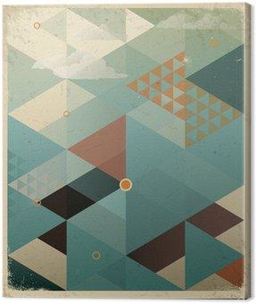 Canvastavla Abstrakt Retro geometrisk bakgrund med moln