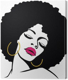 Canvastavla Afro hår hippie kvinna popkonst