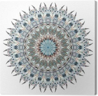 Canvastavla Akvarell abstrakt mandala med stiliserade fjädrar