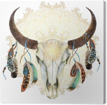 Canvastavla Akvarell ko skalle med fjädrar