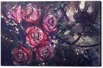 Canvastavla Akvarell målning stil rosor Abstrakt konst.