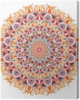 Canvastavla Akvarell mandala med sakral geometri. Utsmyckade spets isolerad på vit bakgrund.
