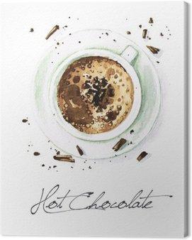 Canvastavla Akvarell Mat Målning - Hot Chocolate