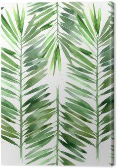Canvastavla Akvarell palm blad sömlös