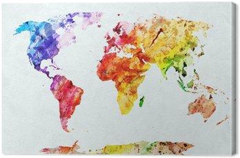 Canvastavla Akvarell världskartan