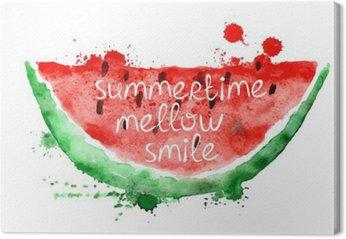 Canvastavla Akvarellillustration med skiva vattenmelon.