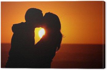 Canvastavla Älskande par strand solnedgång