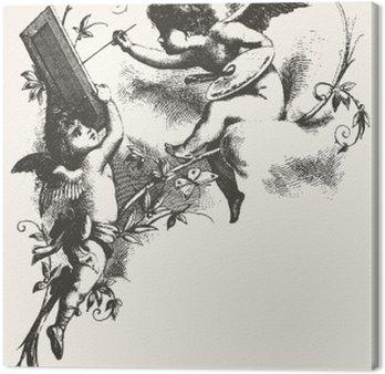 Canvastavla Änglar - gråtoner