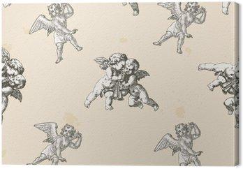Canvastavla Änglar mönster - mönster som ingår i rutan rutor
