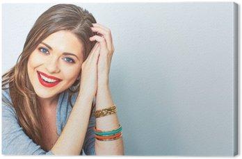 Canvastavla Ansikte porträtt av leende kvinna. Tänder leende flicka. en modell