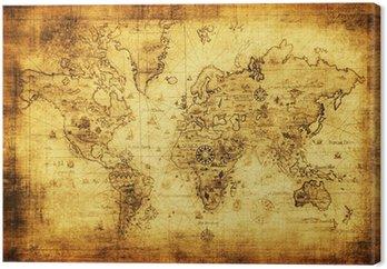Canvastavla Antika världskarta