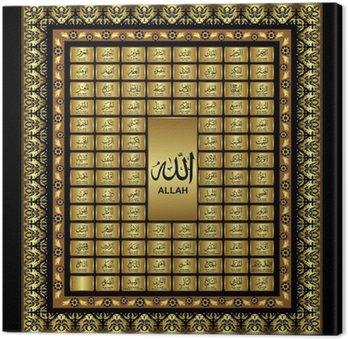 Canvastavla Asmaul husna, 99 Namn på den allsmäktige Allah