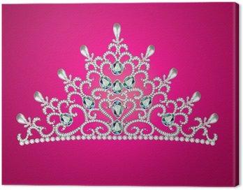 Canvastavla Av diadem feminin kronan med juveler på rosa