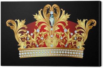 Canvastavla Av kungliga guldkrona med juveler