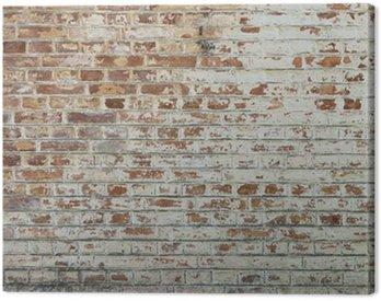 Canvastavla Bakgrund gammal tappning smutsig tegelvägg med skalning gips