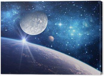 Canvastavla Bakgrund med en planet, måne och stjärna