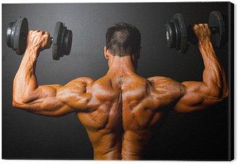 Canvastavla Bakifrån av Bodybuilder träning med hantlar
