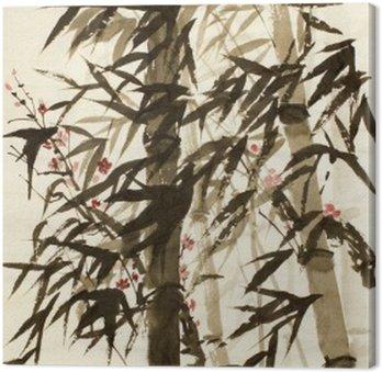 Canvastavla Bambu träd och plommon filial