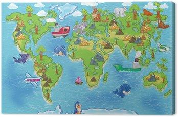 Canvastavla Barn världskartan