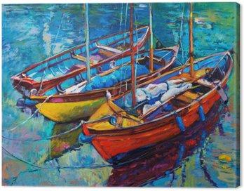 Canvastavla Båtar