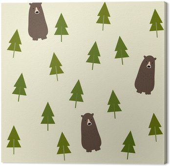 Canvastavla Bear and forest seamless background.