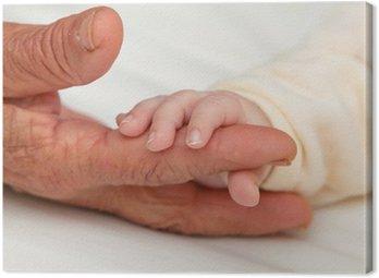 Canvastavla Behandla Holding Stor mormor Finger