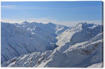 Canvastavla Berg enligt snö på vintern. Alperna. Sölden. Österrike