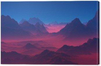Canvastavla Berg vid solnedgången