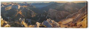 Canvastavla Bergs sunset panorama landskap - i Italien, alperna - Dolomiterna