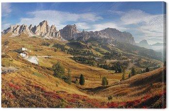 Canvastavla Bergspanorama i Italien Alperna Dolomiterna - Passo Gardena