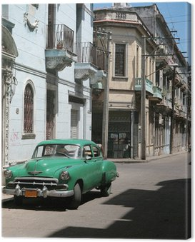 Canvastavla Bilen är parkerad i gamla Havanna centrum